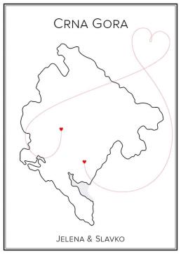 Montenegro - Kärlekskarta