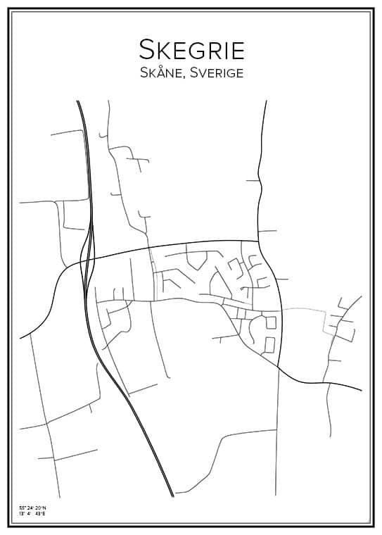 Stadskarta över Skegrie