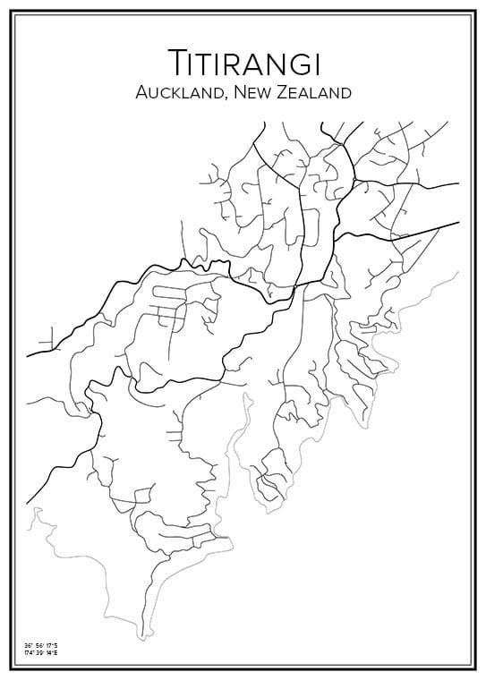 Stadskarta över Titirangi