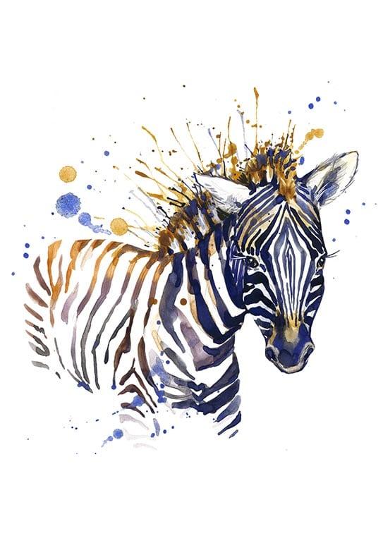 Affisch med en zebra, perfekt till ett barnrum