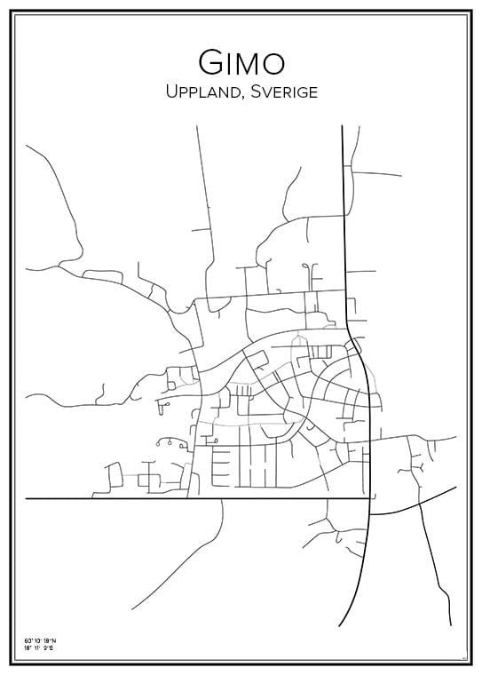 Stadskarta över Gimo