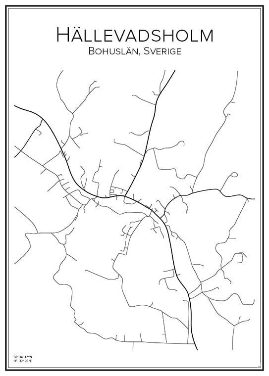 Stadskarta över Hällevadsholm