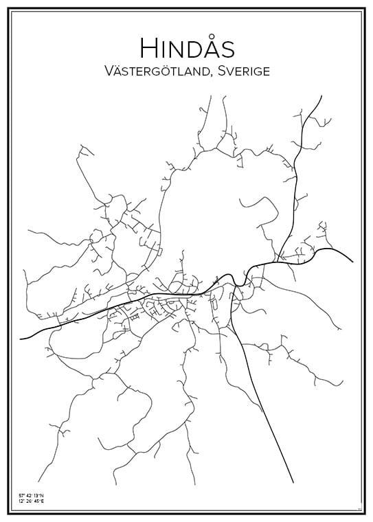 Stadskarta över Hindås