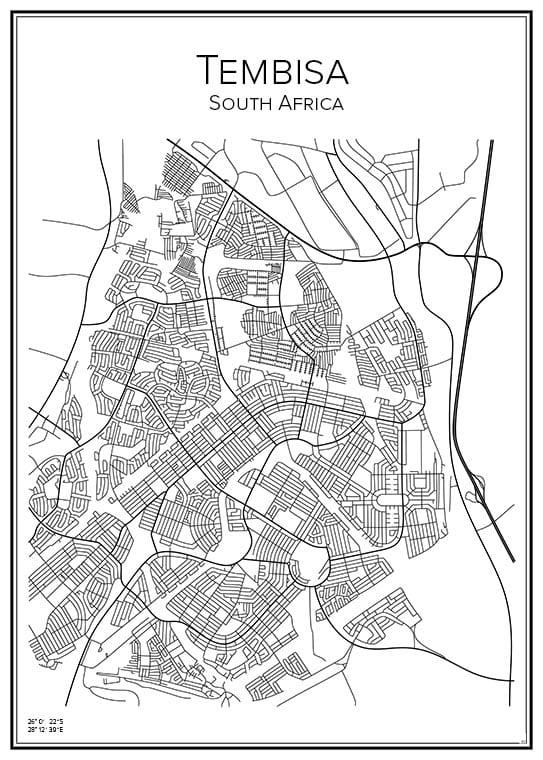 Stadskarta över Tembisa