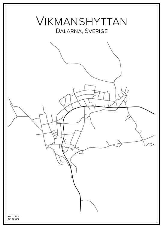 Stadskarta över Vikmanshyttan