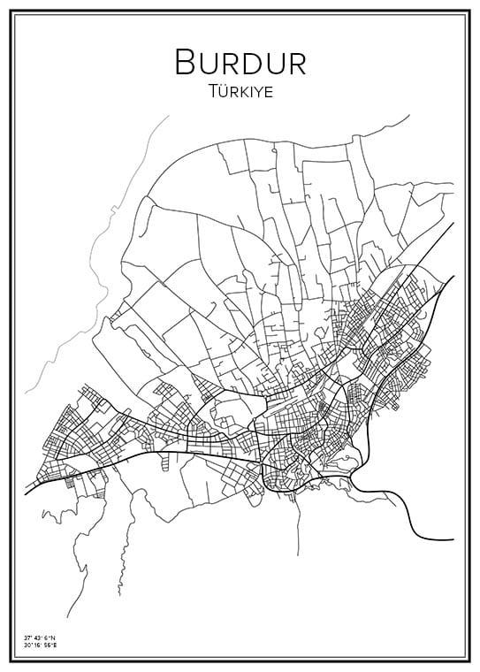 Stadskarta över Burdur