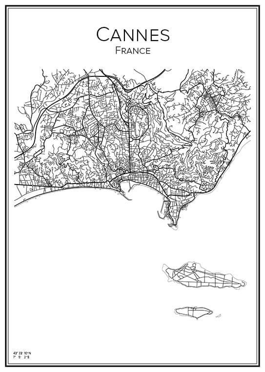 Stadskarta över Cannes