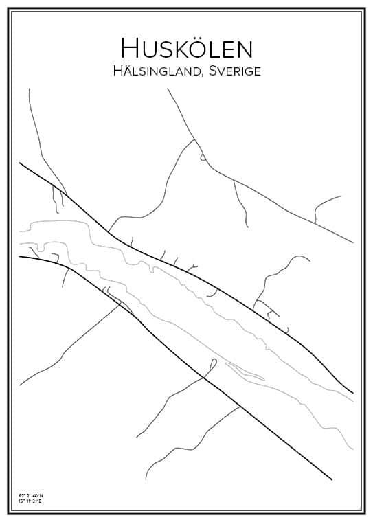 Stadskarta över Huskölen