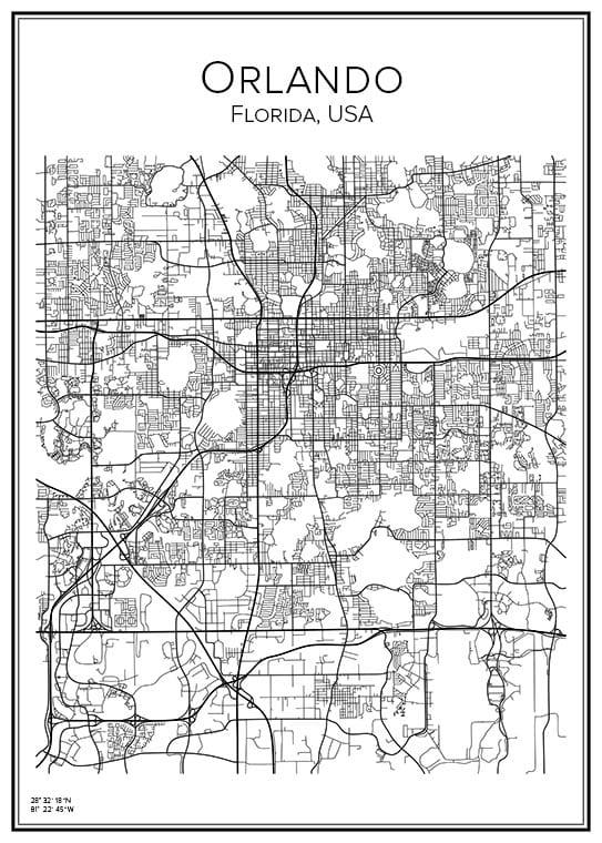 Stadskarta över Orlando