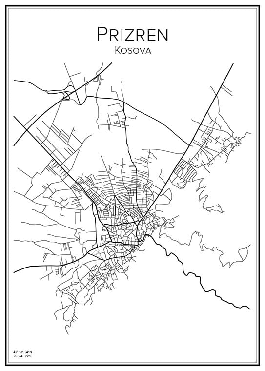 Stadskarta över Prizren