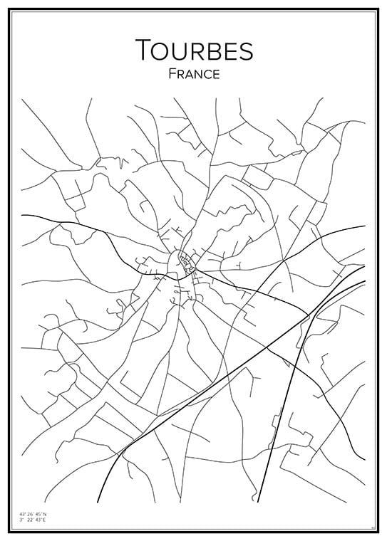 Stadskarta över Tourbes