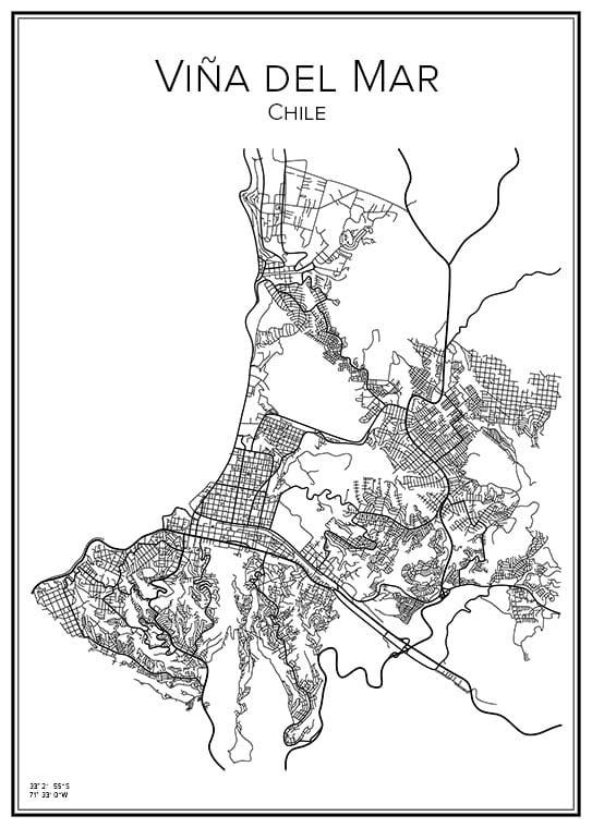 Stadskarta över Viña del Mar