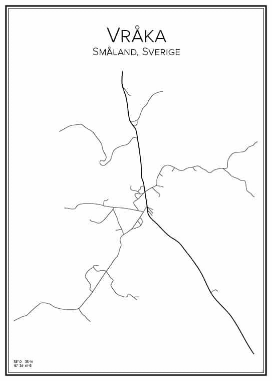 Stadskarta över Vråka