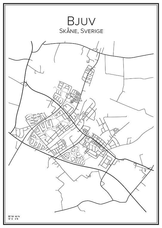 Stadskarta över Bjuv