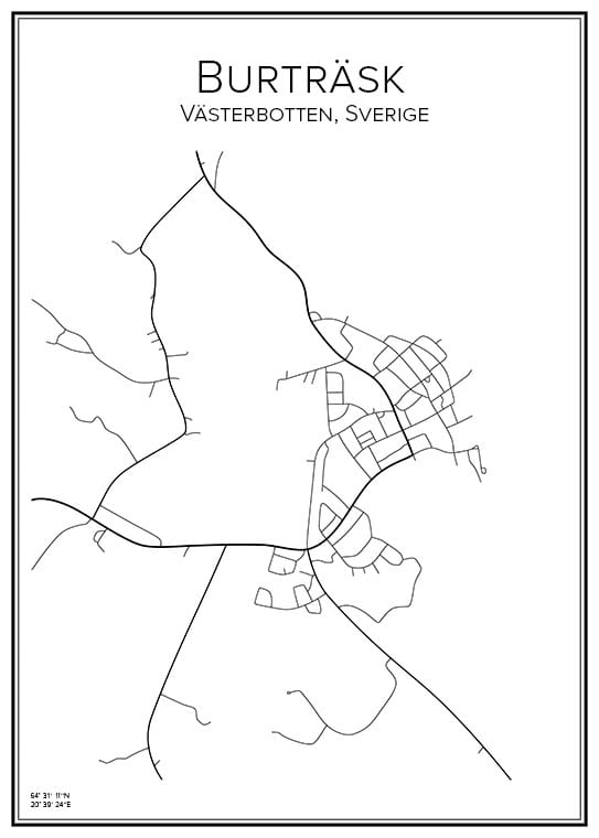 Stadskarta över Burträsk