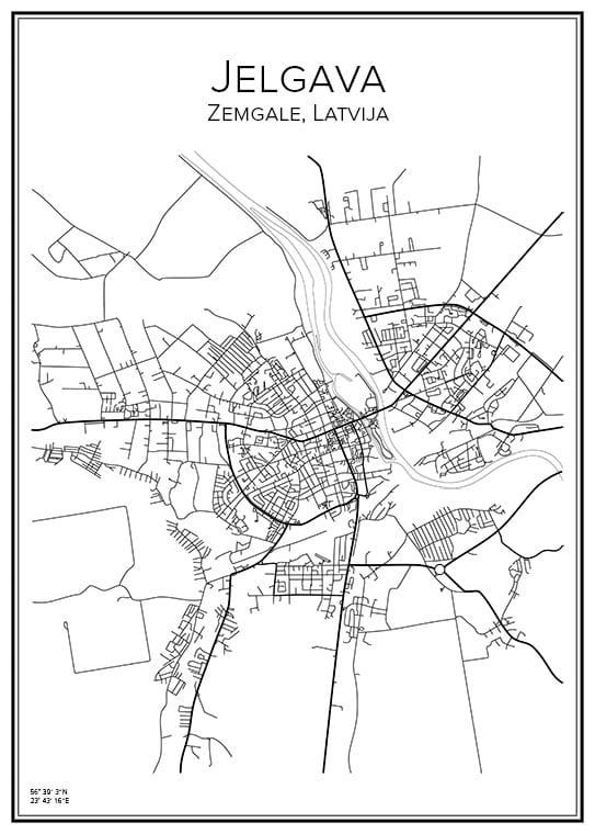 Stadskarta över Jelgava