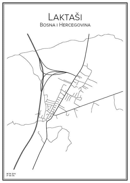 Stadskarta över Laktaši