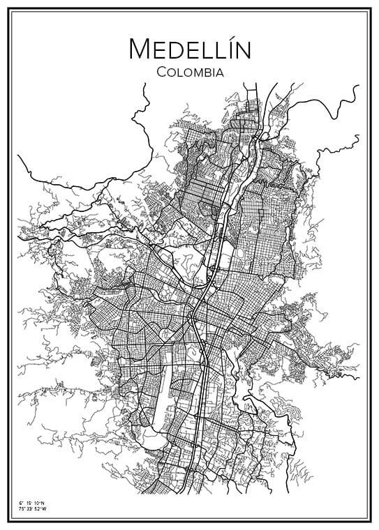 Stadskarta över Medellín