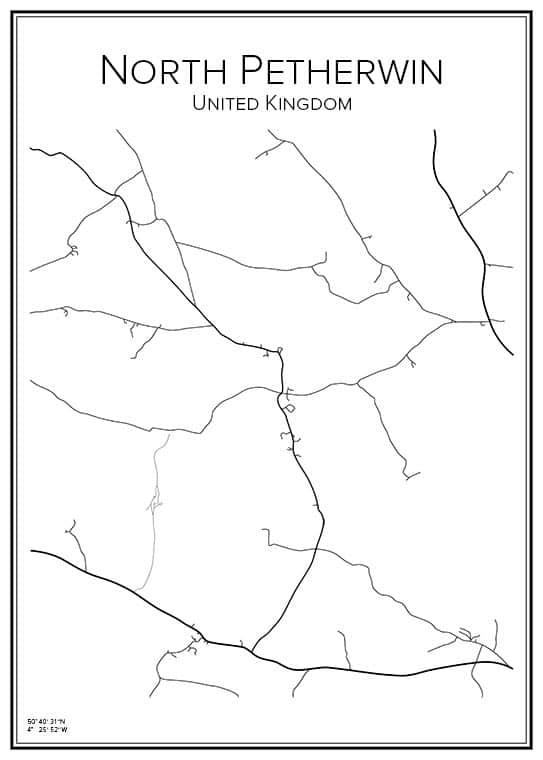 Stadskarta över North Petherwin