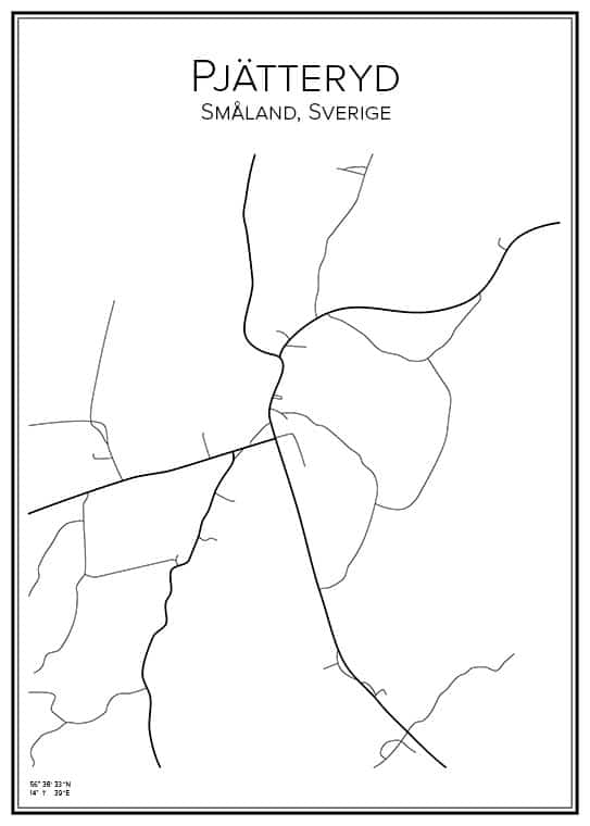 Stadskarta över Pjätteryd