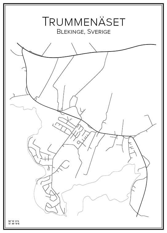 Stadskarta över Trummenäset