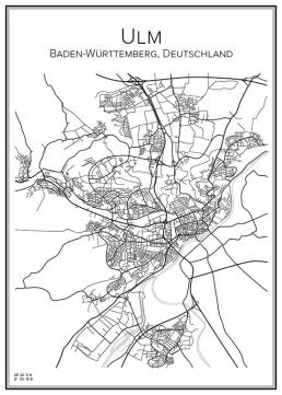 Stadskarta över Ulm