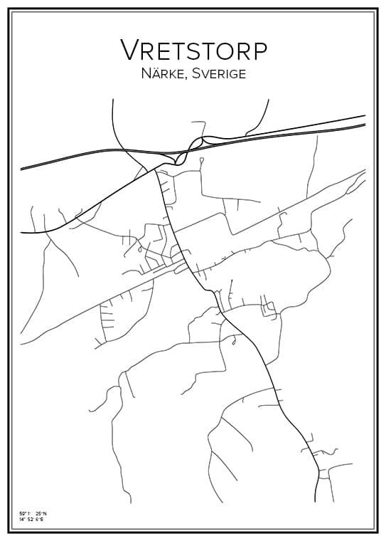 Stadskarta över Vretstorp