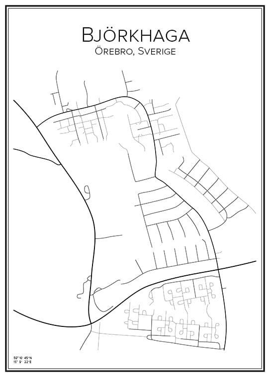 Stadskarta över Björkhaga