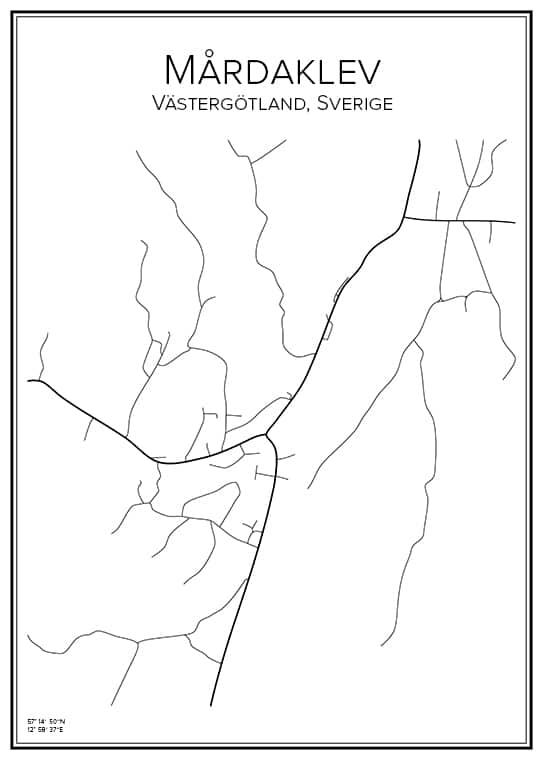 Stadskarta över Mårdaklev