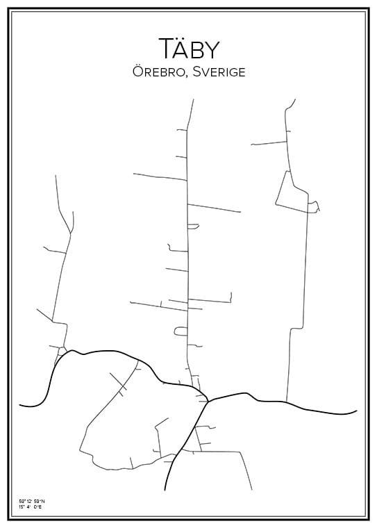 Stadskarta över Täby i Örebro