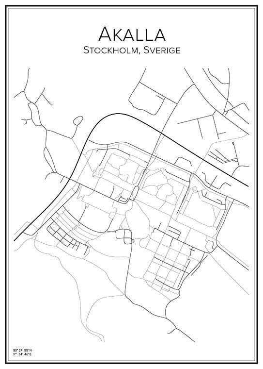 Stadskarta över Akalla
