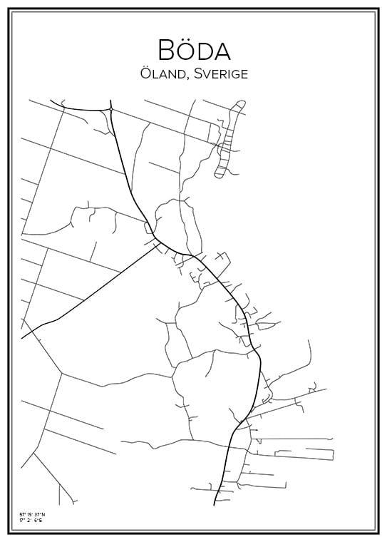 Stadskaarta över Böda