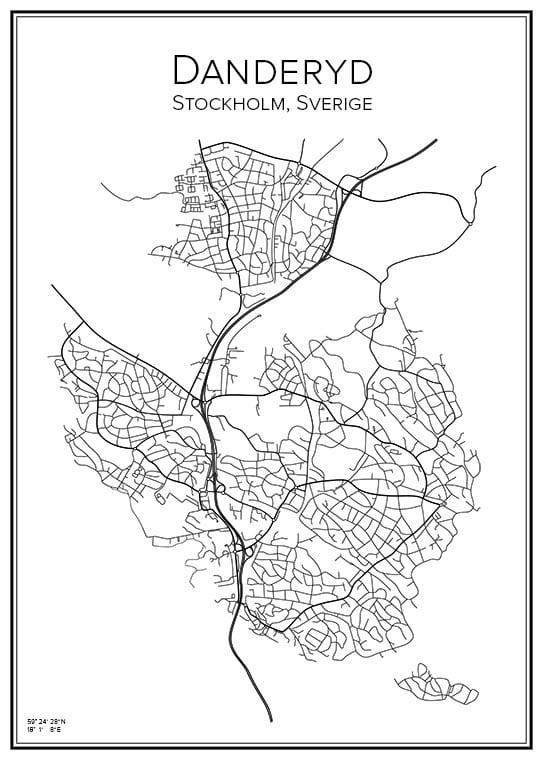 Stadskarta över Danderyd