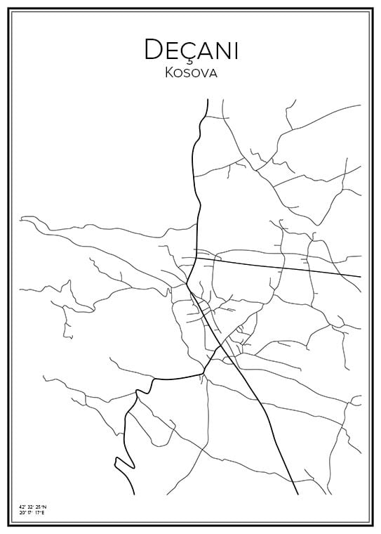 Stadskarta över Deçani