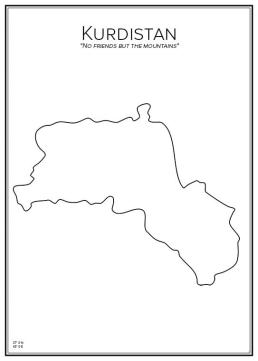 Stadskarta över Kurdistan