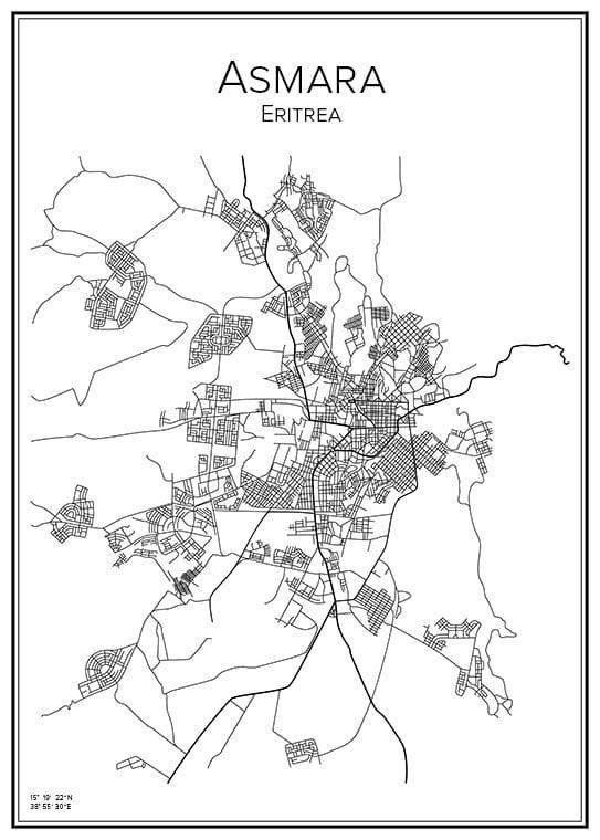 Stadskarta över Asmara