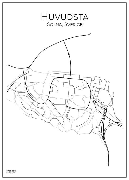 Stadskarta över Huvudsta