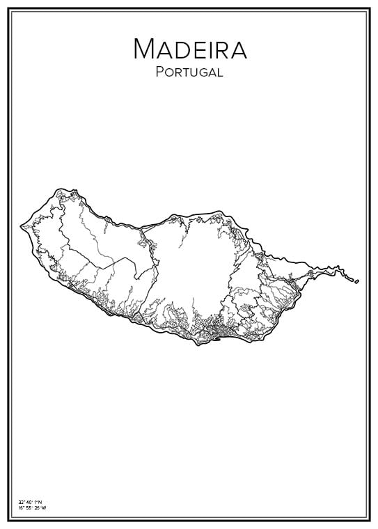 Stadskarta över Madeira