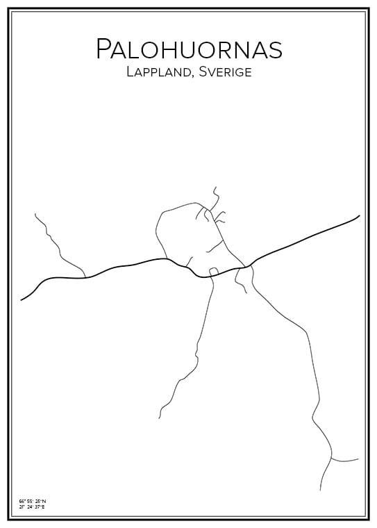 Stadskarta över Palohuornas