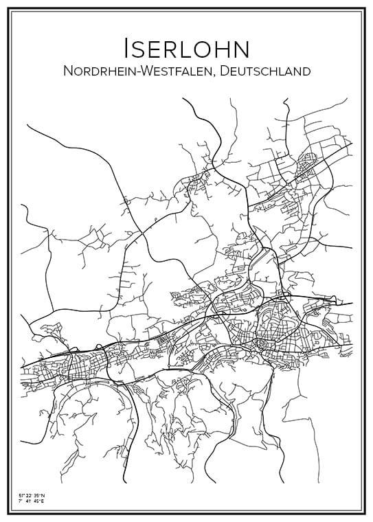 Stadskarta över Iserlohn