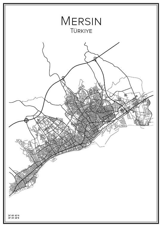 Stadskarta över Mersin