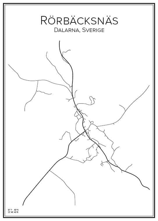 Stadskarta över Rörbäcksnäs