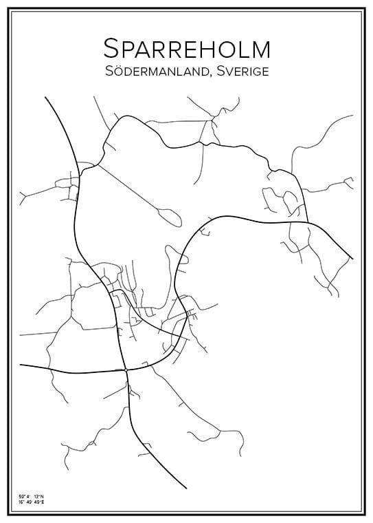 Stadskarta över Sparreholm