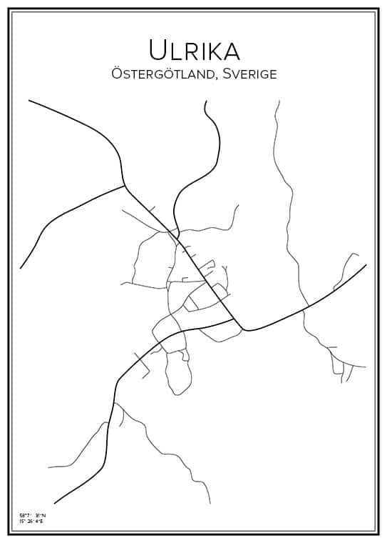 Stadskarta över Ulrika