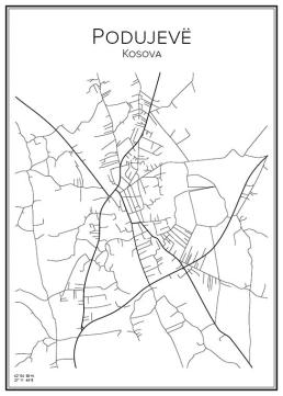 Stadskarta över Podujevë
