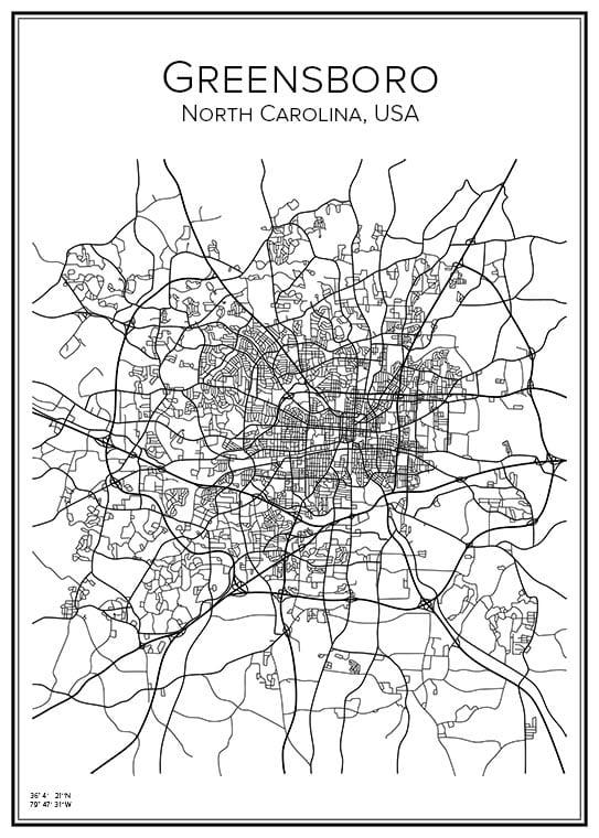 Stadskarta över Greensboro