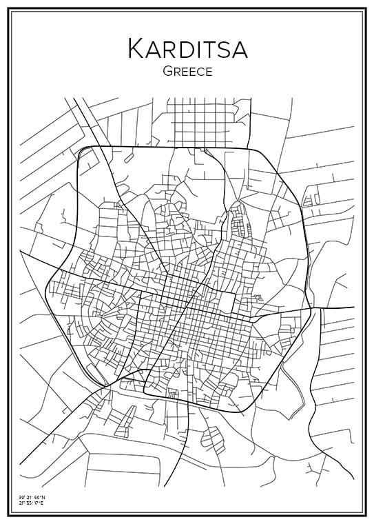 Stadskarta över Karditsa