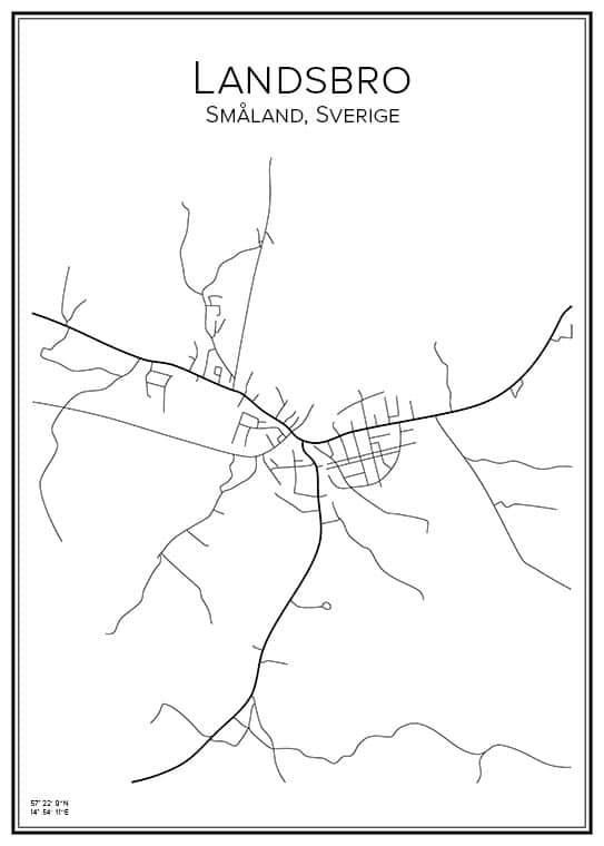 Stadskarta över Landsbro