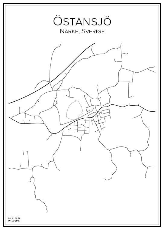 Stadskarta över Östansjö