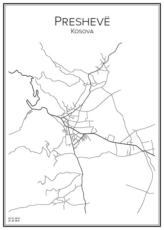 Stadskarta över Preshevë